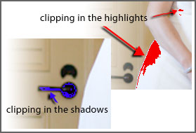 clipping in red and blue