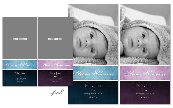 Blue and Pink Swirls Birth Announcements