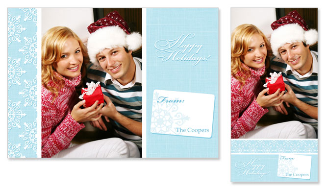 Snowflake Design 4x8 and 5x7 PSD Holiday Greeting Card Templates