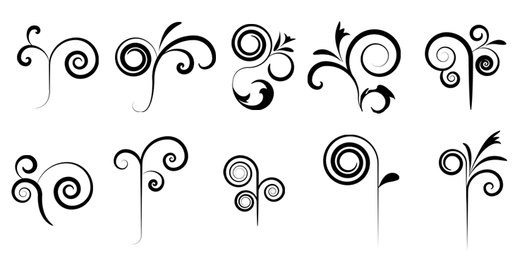 set of ten high quality swirl design Photoshop brushes. Use by ...