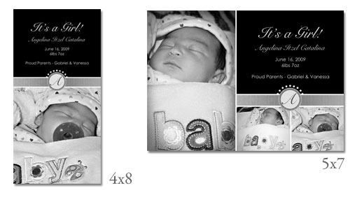 4x8 and 5x7 Black and White Birth Announcements