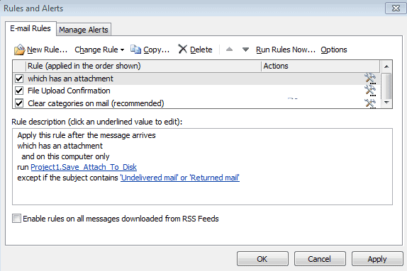 Saving Outlook Email Attachments to a Folder
